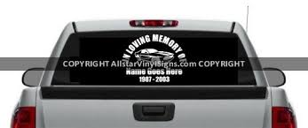 Small Muscle Car Racing Memorial Vinyl Window Decals In Loving Memory Of Car Truck Stickers