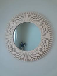 28 round wooden wall mirror natural