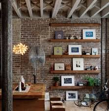 floating shelves on feature wall with