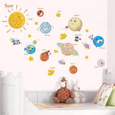 Outer Space Wall Decal For Kids Bedroom Solar System Cartoon Stars Planets Sun Moon Nordicwallart Com