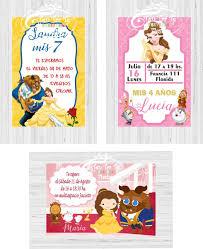 Invitaciones Tarjetas Infantiles Bella Y Bestia Aurora