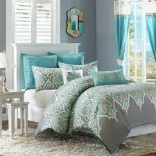teal aqua blue green grey comforter set