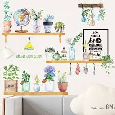 Elegant Green Plant Bonsai Wall Stickers Home Decor Furnishings Romantic Living Room Decoration Kitchen Pvc Wall Decals Bemmengurun