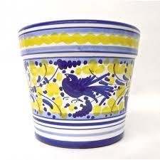 arabesco blue and yellow flower pot