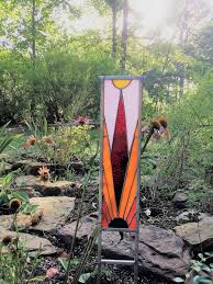 graceful stained glass garden ornament