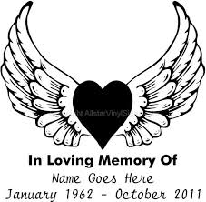 Memorial Vinyl Window Decals In Loving Memory Of Car Truck Stickers Vinyl Window Decals Memorial Decals Angel Wings Tattoo