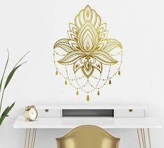 Gold Mandala Wall Decalmandala Lotus Wall Decallarge Mandala Etsy