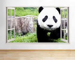 3d Window View Panda Cub Baby Animal Wall Decal Sticker Frame Mural Effect Home Decor Bedroom Living Room Kitchen Wall Stickers Aliexpress