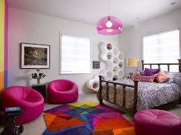 Pink Aztec Rug For Contemporary Kids And Bright Colors Colorful Area Rug Framed Artwork Gray Carpet Hot Pink Accents Pink Chairs Pink Pendant Light Finefurnished Com