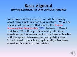 ppt basic algebra solving equations