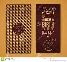 Happy Birthday Invitation Vintage Retro Background With Geometric