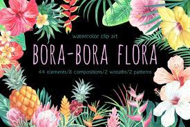 Bora Bora Flora Watercolor Clip Art Arte Dibujos Fondos De