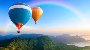 hot air balloon rainbow hills 1920x1080