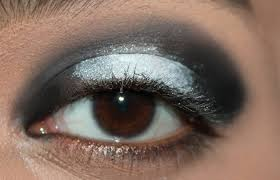 black and white eye makeup step by