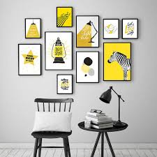 Nordic Cartoon Animal Art Canvas Painting Print Yellow Table Lamp Poster Wall Pictures For Kids Room Nursery Home Decor Painting Calligraphy Aliexpress