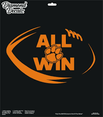 Clemson Tigers University Football Vinyl Decal All Win Ball Car Window Sticker Diamonddecalz Football Vinyl Decal Clemson Tigers Football Clemson Tigers