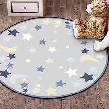 Wishstar Children Round Rug Blue Grey Star Moon Printed Kids Rug Room Velvet Non Slip Mat Carpet Soft Bedroom Big 100cm 120cm Carpet Aliexpress