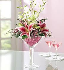 wine glass flower bouquet orchids