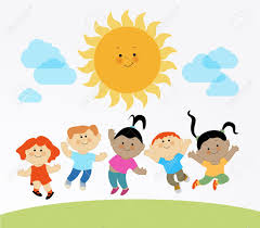 Kids Playing In The Sun Clipart