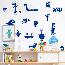 Cartoon Funny Alien Creature Wall Decor For Kids Bedroom Room Or Living Room Decor Vinyl Mural Sticker Wall Decal Home Decorate Wall Stickers Aliexpress