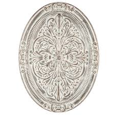 whitewash ornate oval metal wall decor