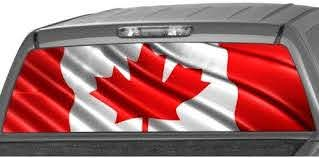 Amazon Com Motorink Canadian Flag Rear Window Graphic Decal Tint Sticker Truck Suv Ute Pick Up Automotive