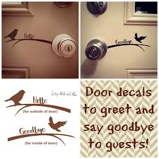Hello Goodbye Vinyl Door Decals Greeting Stickers Home