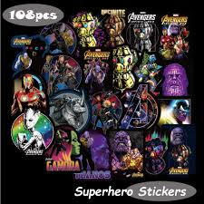 Amazon Com Marvel Avengers Laptop Stickers Decal 108pcs Waterproof Graffiti Stickers Water Bottle Vinyl Sticker Decals For Superheros Macbook Car Helmet Bike Motorcycle Bumper Not Random Computers Accessories