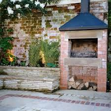 rustic brick wall and fireplace would