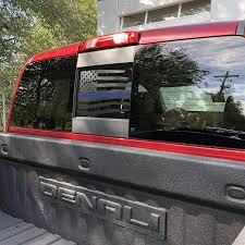 Amazon Com Elevated Auto Styling Rear Middle Window Distressed American Flag Decal Fits Chevy Silverado Sierra 2004 2018 Thin Blue Line Kitchen Dining