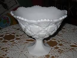milk glass pedestal candy bowl dish