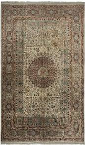 turkish green red hereke silk rug by