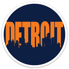 Mi Culture Navy W Orange Detroit Skyline Vinyl Decal Mi Culture