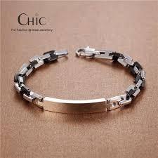 snless steel id bracelets black