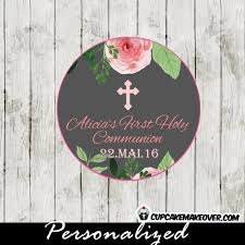 watercolor first communion favor tags