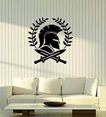 Amazon Com Art Of Decals Amazing Home Decor Spartan Warrior Vinyl Wall Decal Swords Ancient Greece World Stickers Mural Large Decor 329made In The Usa Removable Home Kitchen