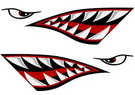 Alemon Shark Teeth Mouth Reflective Decals Graphics Sticker Fishing Boat Canoe Car Truck Kayak Decals Accessories Team Immortal Forever Fit Fitness Products
