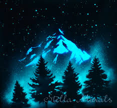 Glow In The Dark Wall Decal Forest And Mountain Stella Murals