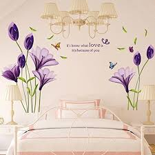 Livegallery Beautiful Lovely Lily Flowers Wall Decals Removable Diy Butterfly Flower Vines Art Decor Wall Stickers Murals Kocaeliparke