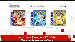 Pokemon Red, Blue, Yellow NINTENDO e-SHOP DIGITAL DOWNLOAD 3DS XL Feb 22  2016 Release Date - YouTube