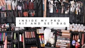 inside my pro makeup kit set bag