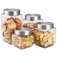 4 piece glass canister set with
