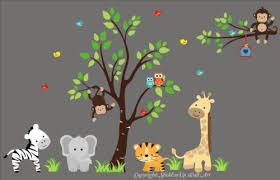 Amazon Com Jungle Themed Nursery Decals Safari Animals Removable And Reusable Stickers Zebra Gray Elephant Tiger Giraffe Branch Monkey Owls Birds Birdhouse Kids Decor Baby