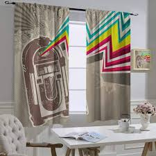 Amazon Com Mozenou Jukebox Curtain For Kids Room Antique Vintage Retro Radio Party With Colorful Zig Zag Design Image Shading And Heat Protection 52x45 Inch Pale Grey And White Home Kitchen