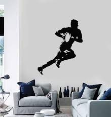 Vinyl Wall Decal Rugby Player With Ball Silhouette Sports Decor Art St Wallstickers4you
