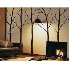 Simple Shapes Winter Tree Wall Decals Black 96 243 Cm Tall Trees