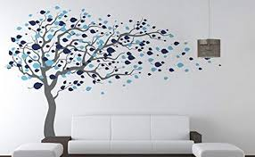 Amazon Com Pop Decors Grey Blue Tree Blowing Right To The Wind Beautiful Wall Stickers For Kids Rooms Baby