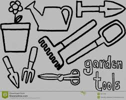 gardening tools clipart black and white