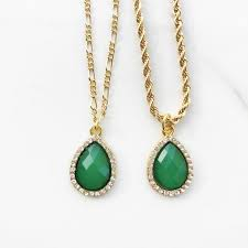 green emerald pendant charm gold