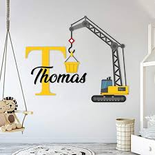 Amazon Com Custom Name Initial Construction Crane Prime Series Baby Boy Nursery Wall Decal For Baby Room Decorations Mural Wall Decal Sticker For Home Children S Bedroom Wide 42 X35